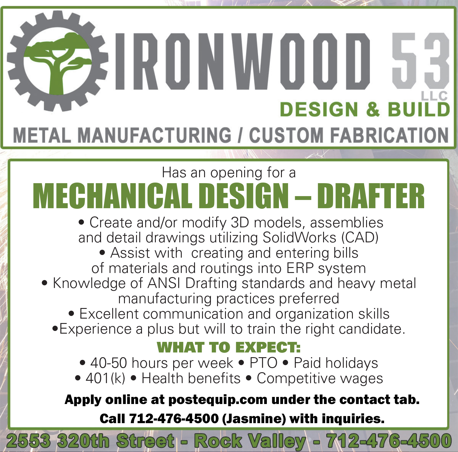Help Wanted - Drafter for Ironwood 53